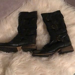 Steve Madden black distressed boots